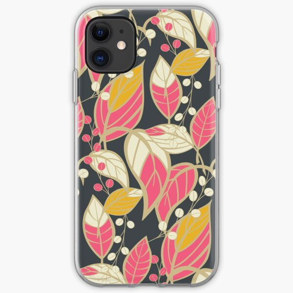 Seamless floral pattern with hand drawn leaves iPhone Soft Case