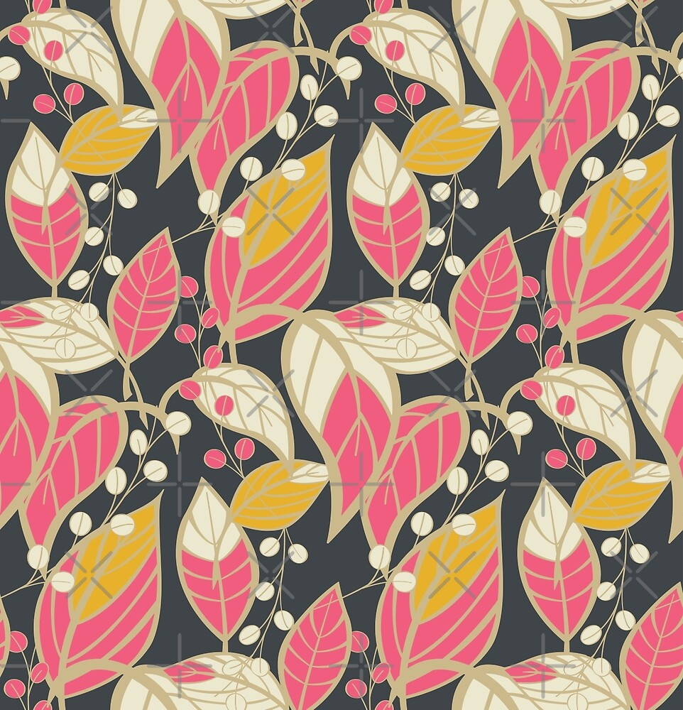 Seamless floral pattern with hand drawn leaves by BlueLela