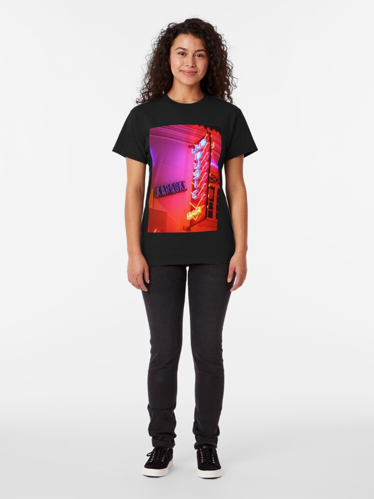 Alternate view of Karaoke Music Neon Sign Lights Classic T-Shirt