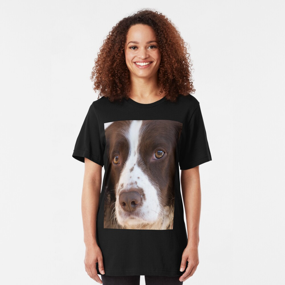 Brown and White Springer Spaniel Portrait Slim Fit T-Shirt
