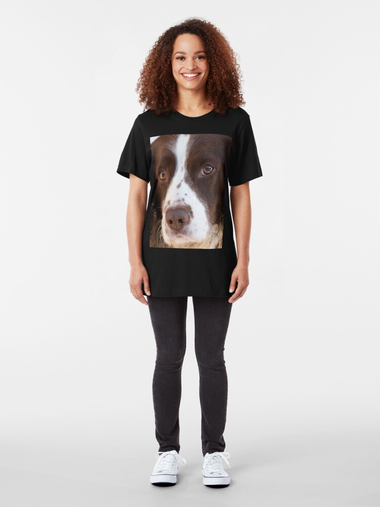 Alternate view of Brown and White Springer Spaniel Portrait Slim Fit T-Shirt
