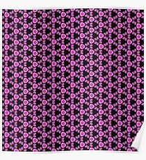 Pink and Black Unique Flower Photo Bold Bright Pattern Print  Poster