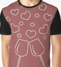Cute vector illustration of two stemware with hearts. Greeting card Valentine's Day. Graphic T-Shirt