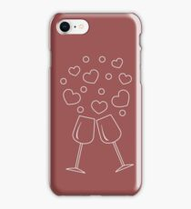 Cute vector illustration of two stemware with hearts. Greeting card Valentine's Day. iPhone Case/Skin