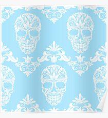 blue victorian skulls  Poster