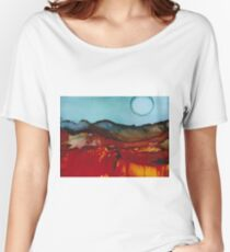 Sunset in the mountains - alcohol ink painting Women's Relaxed Fit T-Shirt