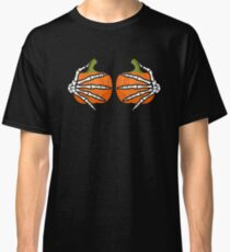 Skeleton Hands On Pumpkin Breasts Funny Sarcastic  Classic T-Shirt