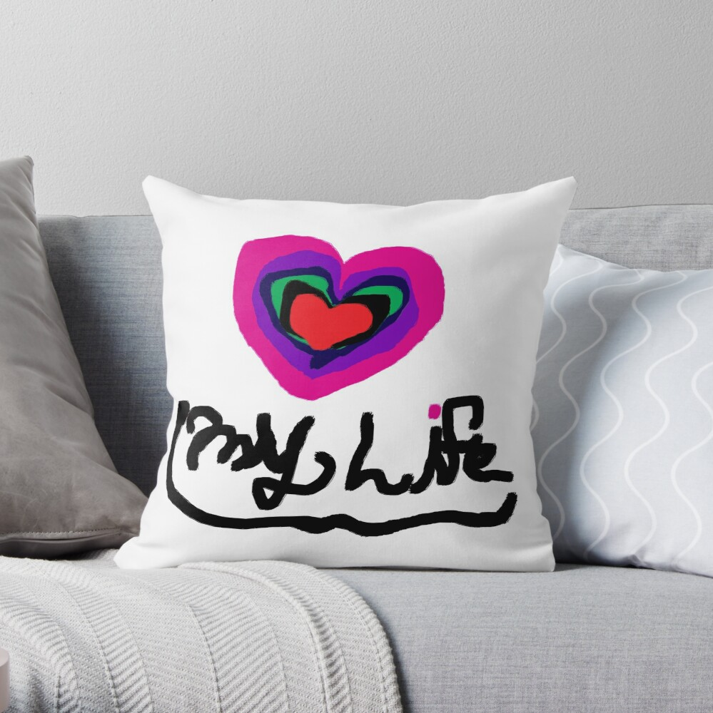 Love My Life Heart T Shirt Tee Rainbow Heart Saying And Quotes Throw Pillow