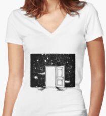 Open door in universe Women's Fitted V-Neck T-Shirt