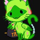 Halloween Chibi Winged Kitty - Siamese Zombie Cat by Julia Lichty