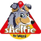 Sheltie On Board - Merle Tricolor by DoggyGraphics