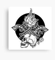 Skull, crossed guns and rose Canvas Print
