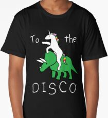 To The Disco (white text) Unicorn Riding Triceratops Long T-Shirt