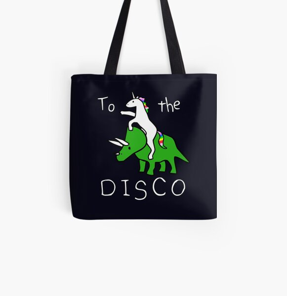 To The Disco (white text) Unicorn Riding Triceratops All Over Print Tote Bag