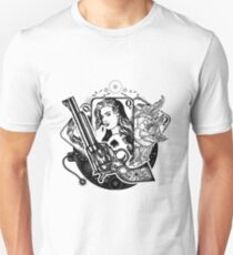 Revolver, playing cards, beautiful girl T-Shirt