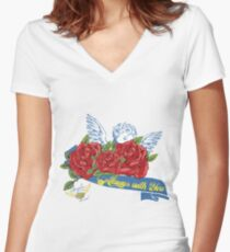 Angel always with You  Women's Fitted V-Neck T-Shirt