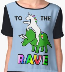 To The Rave! (Unicorn Riding Triceratops) Women's Chiffon Top