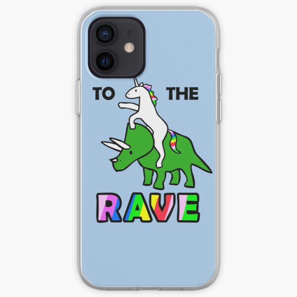 To The Rave! (Unicorn Riding Triceratops) iPhone Soft Case