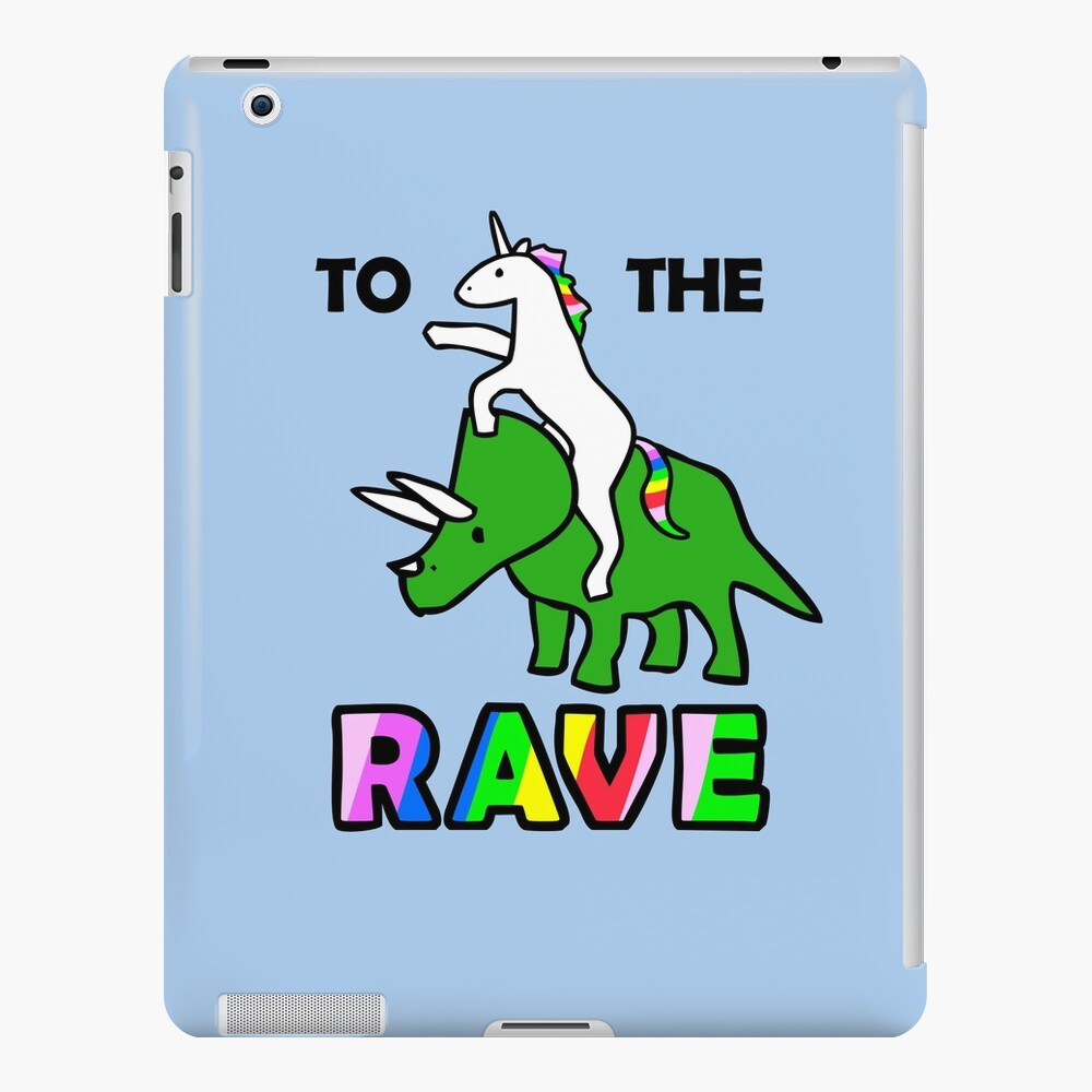 To The Rave! (Unicorn Riding Triceratops) iPad Case & Skin