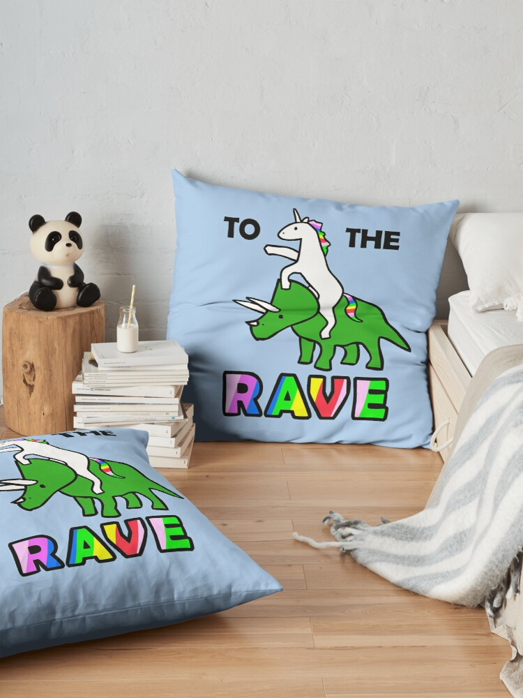 Alternate view of To The Rave! (Unicorn Riding Triceratops) Floor Pillow