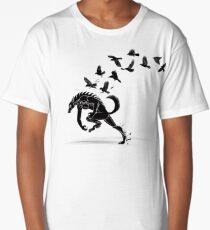 Werewolf Running from Ravens Long T-Shirt