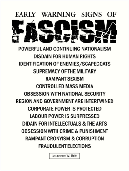 Early Signs Of Fascism >> Early Warning Signs Of Fascism Art Print By Creamy Hamilton Redbubble
