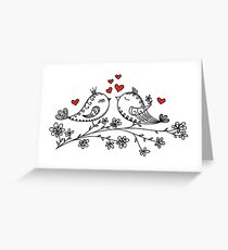 LOVE BIRDS, VALENTINE`S DAY, HEARTS, COLOR Greeting Card