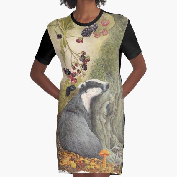 Autumn badger Graphic T-Shirt Dress