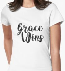 Grace Wins Inspirational Christians Jesus Peace Women's Fitted T-Shirt