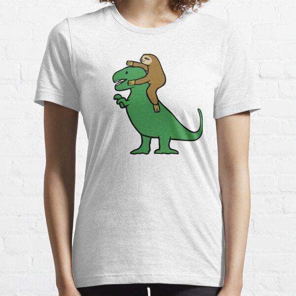 Sloth Riding T-Rex Essential T-Shirt