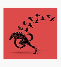 Werewolf Running from Ravens Photographic Print