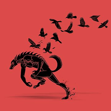 Werewolf Running from Ravens by BurrowsImages