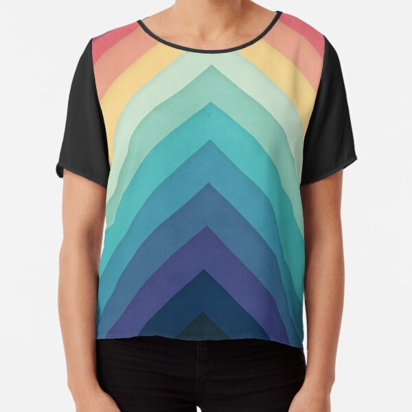 Retro Chevrons 002 Chiffon Top