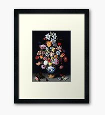 Ambrosius Bosschaert the Elder, A Still Life of Flowers in a Wanli Vase on a Ledge with further Flowers, Shells and a Butterfly Framed Print