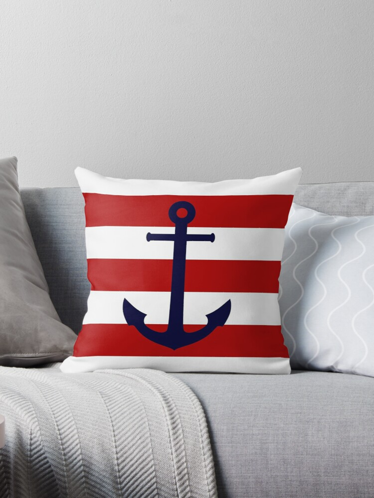 Prime Nautical Navy Blue Anchor On Red Stripes Throw Pillow By Rewstudio Theyellowbook Wood Chair Design Ideas Theyellowbookinfo