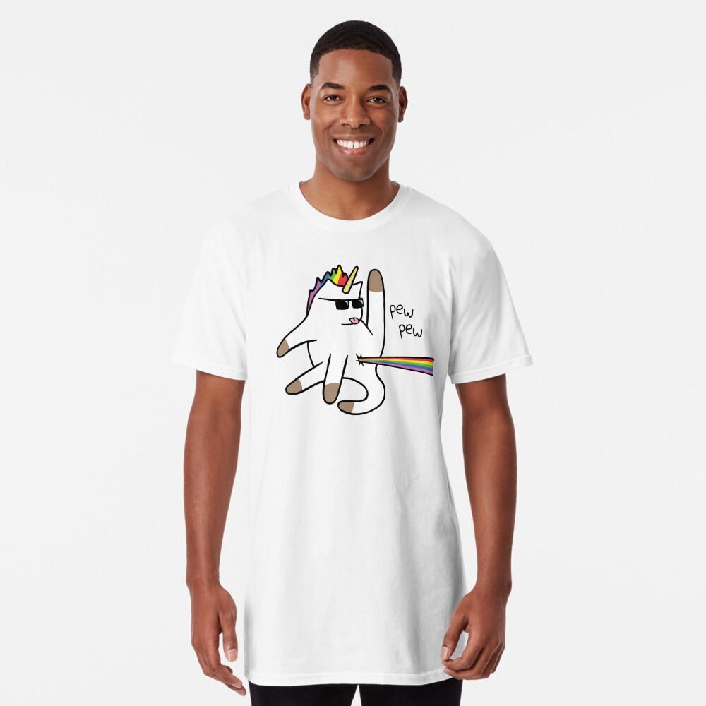 Unicorn Cat Rainbow Butt Laser Camiseta larga