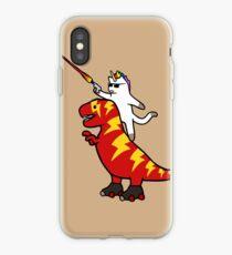 Einhorn Katze Reiten Blitz T-Rex iPhone-Hülle & Cover
