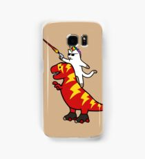 Unicorn Cat Riding Lightning T-Rex Samsung Galaxy Case/Skin
