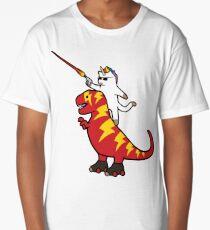 Unicorn Cat Riding Lightning T-Rex Long T-Shirt