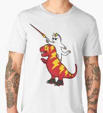 Unicorn Cat Riding Lightning T-Rex Men's Premium T-Shirt