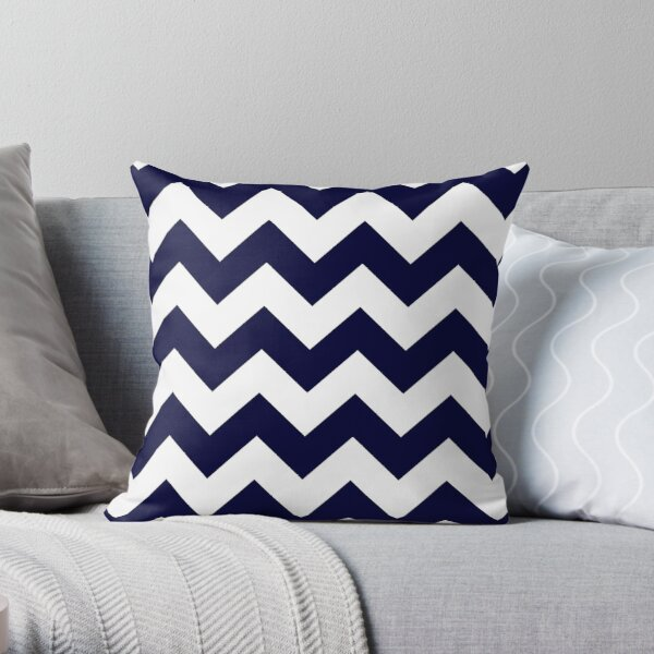 Navy Blue And White Chevron Stripes Throw Pillow