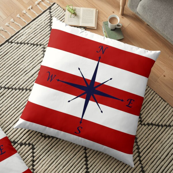 Nautical Navy Blue Compass On Red and White Stripes Floor Pillow