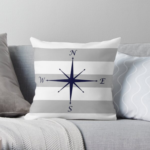 Nautical Navy Blue Compass On Silver Gray and White Stripes Throw Pillow