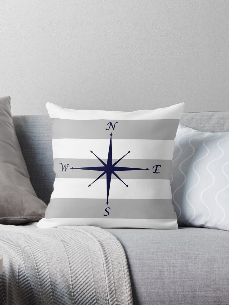 Quot Nautical Navy Blue Compass On Silver Gray And White Stripes Quot Throw