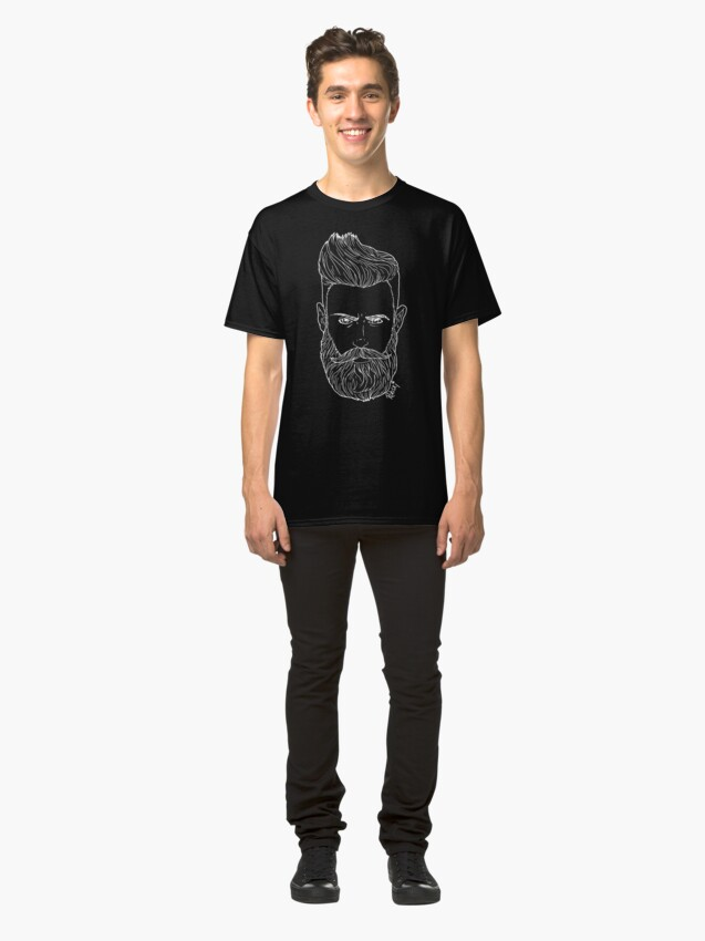 Alternate view of Handsome bearded bear hipster man Classic T-Shirt