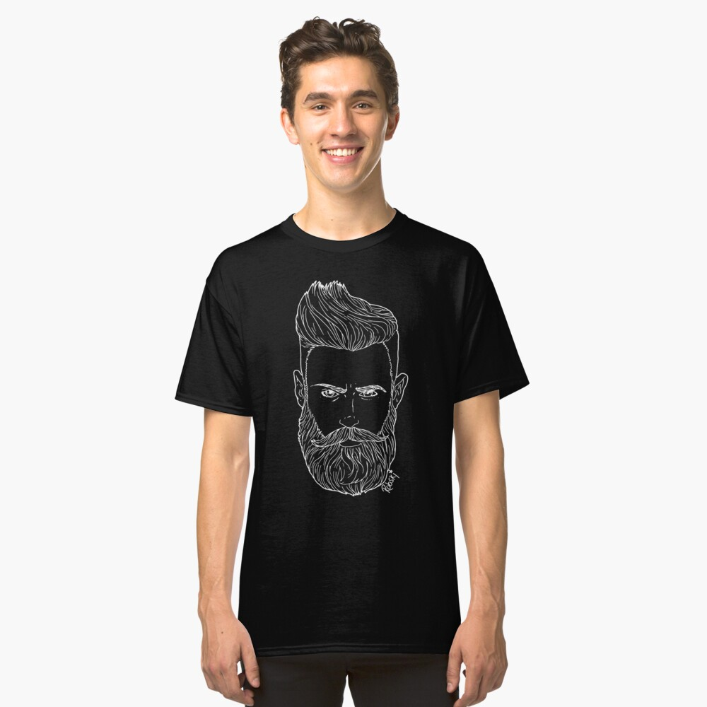 Handsome bearded bear hipster man Classic T-Shirt