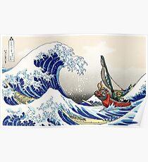 The Legend of Zelda - Hokusai Wave Poster