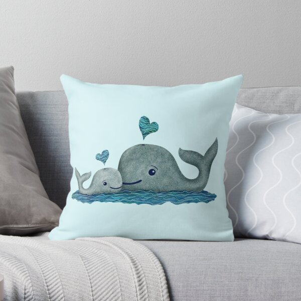 Cute Mom and Baby Whale with Blue Heart Throw Pillow