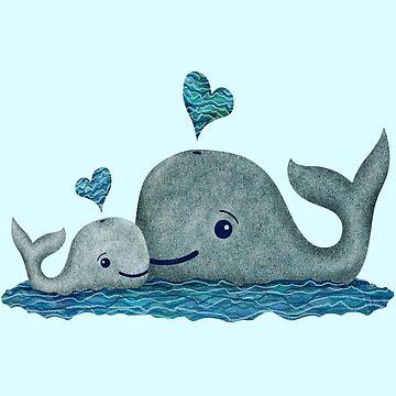Linda mamá y bebé Whale con corazón azul de ElephantTrunk
