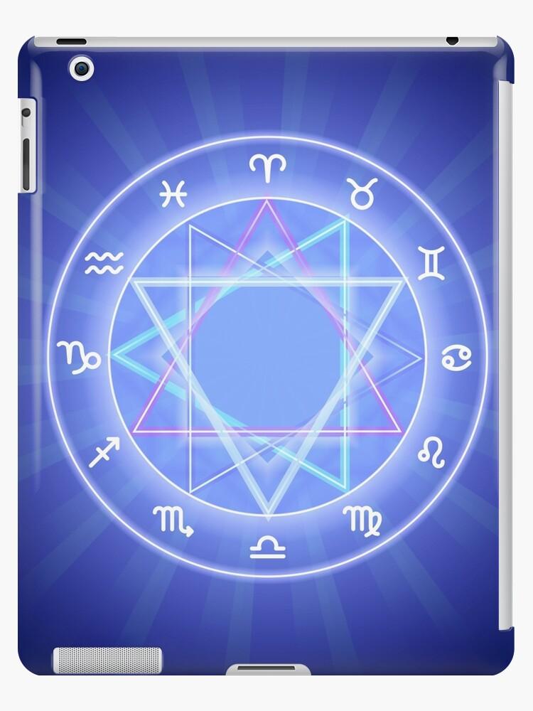 'Zodiac circle, glowing Zodiac signs set on dark blue' iPad Case/Skin by  Slanapotam